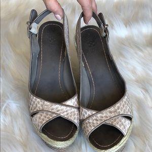 Vince Camuto sling back wedges snake print shoe
